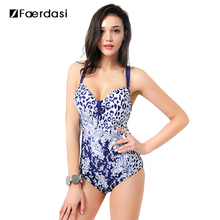 Faerdasi 2017 Plus Size Women Floral One Piece Swimsuit Deep V Neck Bathing Suit Sexy Beach Wear Swimwear FD81575(China)