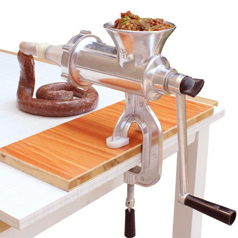 Manual Meat Grinder Sausage Maker Stainless Steel Sausage Stuffer Pasta Maker Meat Vegetable Grinder Mincer For Home<br>