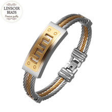 LINSOIR 2017 Fashion 316L Stainless Steel Great Wall Bracelet Mens Punk 3Rows Wire Link Chain Bracelets Pulseira Masculina F8016