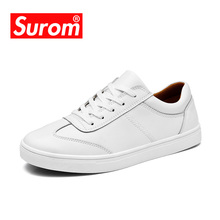 SUROM Mens Shoes White Color Leather Casual Shoes Brogue Style Fashion Flats Winter Casual Shoes Men quality flattie(China)
