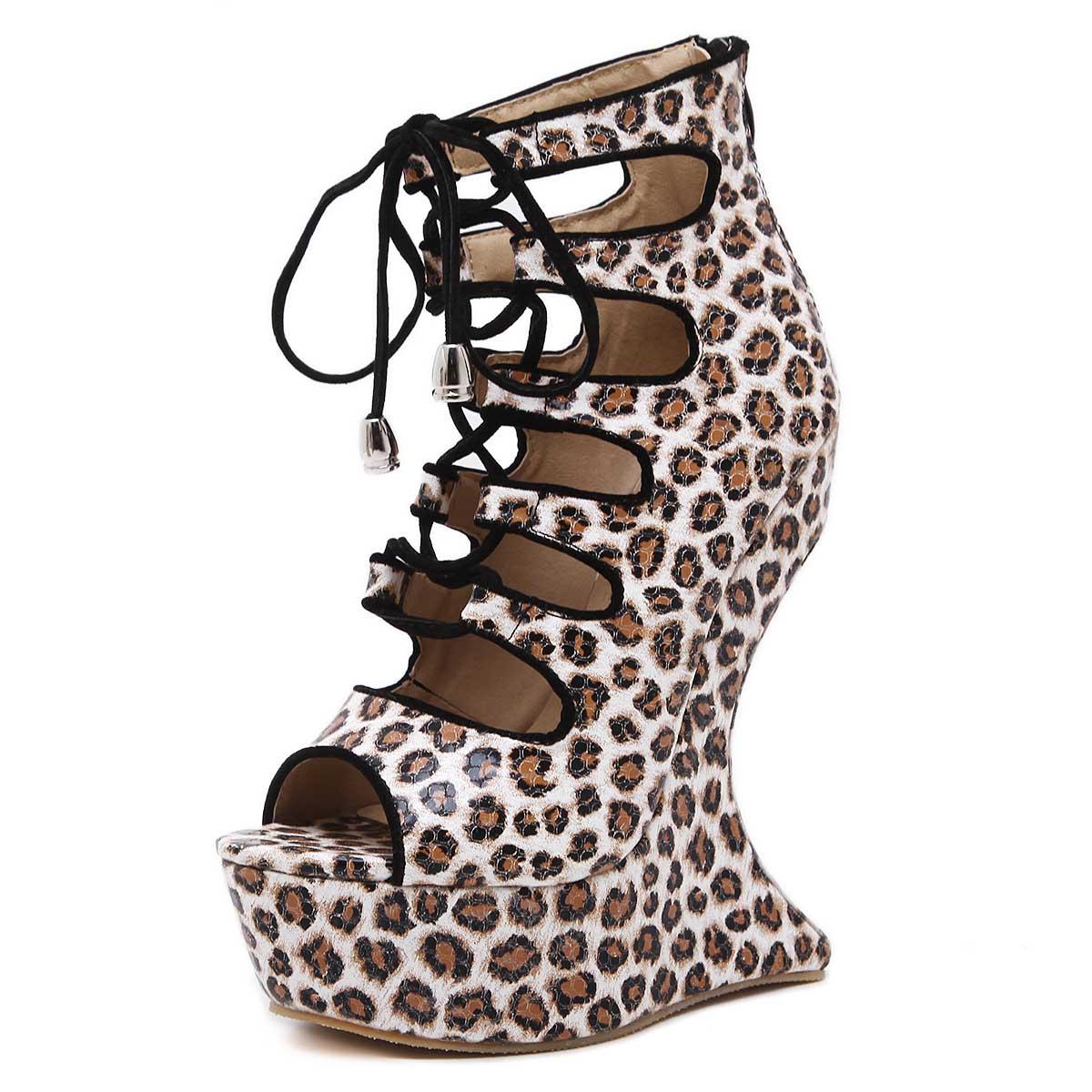 DoraTasia Sexy Leopard Women Sandals Gladiator 2017 High Heels Lace Up Strange Style Wedges Open Toe Platform Summer Shoes<br><br>Aliexpress