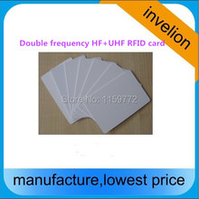 double frequency rfid uhf 860-960mhz+hf passive tag 13.56 MHz blank pvc card