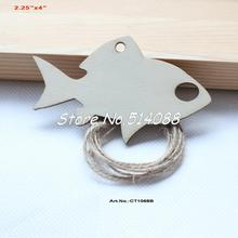 "(30pcs/lot) 101mm Rustic Unfinished Natural Wooden Fish Tags Necklace Art Ornaments 4""-CT1068B"
