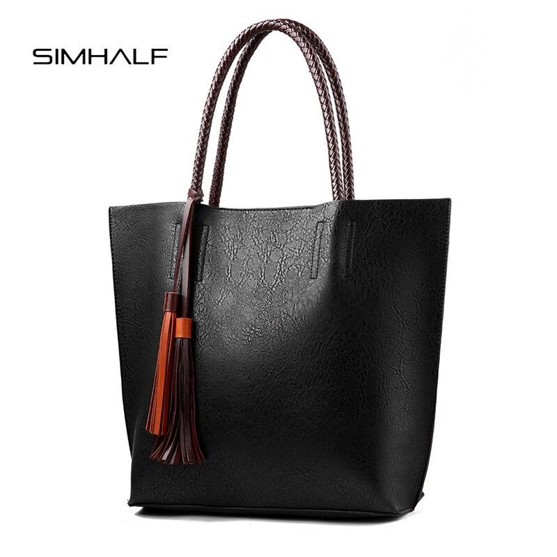 SIMHALF Fashion women bag big capacity tote bag vintage solid tassel luxury handbag casual bolsa feminina shopping bags for 2018<br>