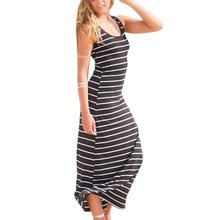Women Striped Long Maxi Dress Casual Sleeveless Beach Vest Dress Sexy Ladies Dresses