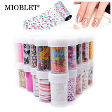MIOBLET Lace Flower Cartoon Designs DIY Nail Sticker Colorful Irregularity Foil Nail Art Sticker Decal Decoration Manicure X1-31