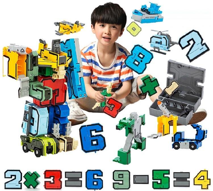 Creative Assembling Educational Articles Preschool Transform Number Robots Action Figures Transformer Plane &amp; Car Birthday Toys<br>
