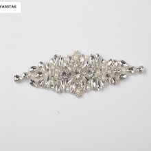 1 PIECE Sliver Beaded Rhinestone Pearl with Crystals for Wedding Belt by Sewing Iron Embroidery Patches Appliques L29(China)