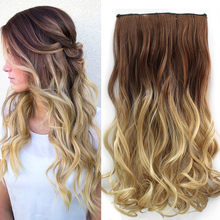 Hot Two Tone 24inch one Piece Curly Hair Clip in On Ombre Dip Dye Synthetic Hair Extensions Heat Resistant Fading 135g Hair 3025