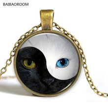 Yin and Yang Tai Chi Bagua cat face retro short necklace, wholesale fashion time gem aliexpress explosions(China)