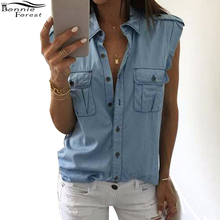 Bonnie Forest Fashion Women Summer Loose Blouse Tank Tops Vest Buttons Pockets Blouses Sexy Sleeveless Jeans Denim Tops