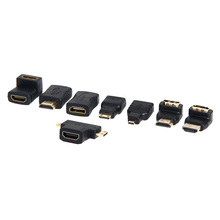 7Pcs/Lot 1080P HDMI Connector Set HDMI Female to Mini HDMI Male Extension Adapter Converter for HDTV Camera MP4 MP5