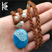wholesale Polynesia Princess Moana Necklaces Girls Movie Cosplay Costume Charm Necklace Handmade Braided Leather Rope Necklace(China)