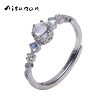 Aitunan Classic 925 Sterling Silver Natural Moonstone Rings Stackable Ring ,Adjustable 925 Silver Ring For Wedding Jewelry