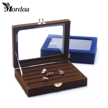 Small Ring Jewelry Box Glass Cover Ring Storage Box Stud Earring Box Wheel Stud Earring Jewelry Holder Accessories Display Rack(China)