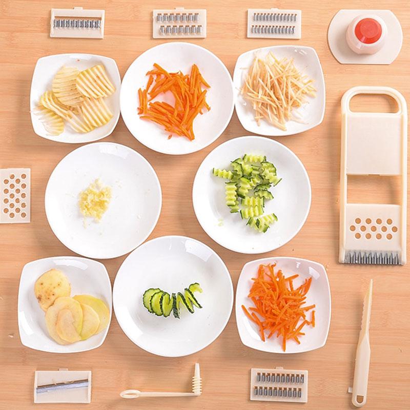 Mayitr 11Pcs Mandoline Slicer Vegetables Cutter Stainless Steel Blade Carrot Grater Onion Dicer Slicer Easy Kitchen Tools