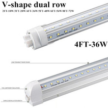 15pcs/lot CE ROHS dual row 100lm/w AC110V 220v 230v 240v 50/60hz clear cover 36w 4ft G13 integrated 4' 1200mm T8 LED tube lamp