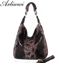 Arliwwi Brand 100% Genuine Leather Embossed Shiny Serpentine Shoulder Bags Big Casual Soft Real Cowhide Tote Handbags Women(China)
