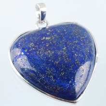 Free shipping Fashion Jewelry Natural Lapis Lazuli Gem Stone Heart Silver Plated Reiki Chakra Pendant Bead 1PCS PN2001