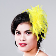Free shipping Women Fancy Feather Fascinator Hat yellow Wedding Hats and Fascinators White Net Hair Accessories for Bridal Woman(China)