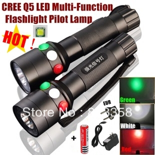 XH-97 CREE Q5 LED signal light Green White Red LED Flashlight Torch Bright light signal lamp + 1x18650 Battery / Charger<br>