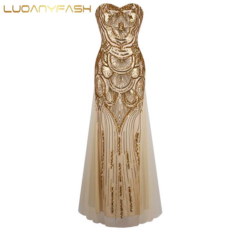 Luoanyfash Sexy strapless sequin summer dress 2016 long party dress Women gold paillette dress back lace up vestidos FA0398(China (Mainland))
