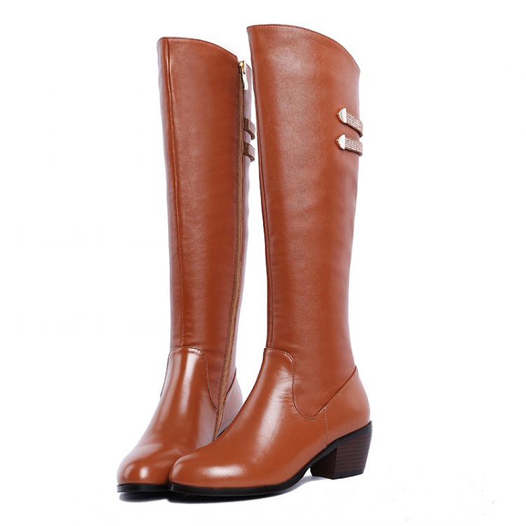 Free Shipping 2017 Full Grain Leather knee high boots spike heel women winter boots motorcycle boot ( brown / black ) for women<br><br>Aliexpress