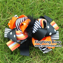 5.5-6inch Girl's  Large Boutique hollaween hair bows new Printed Hair Accessories Ribbon Sculpture Hair Clippie fashion