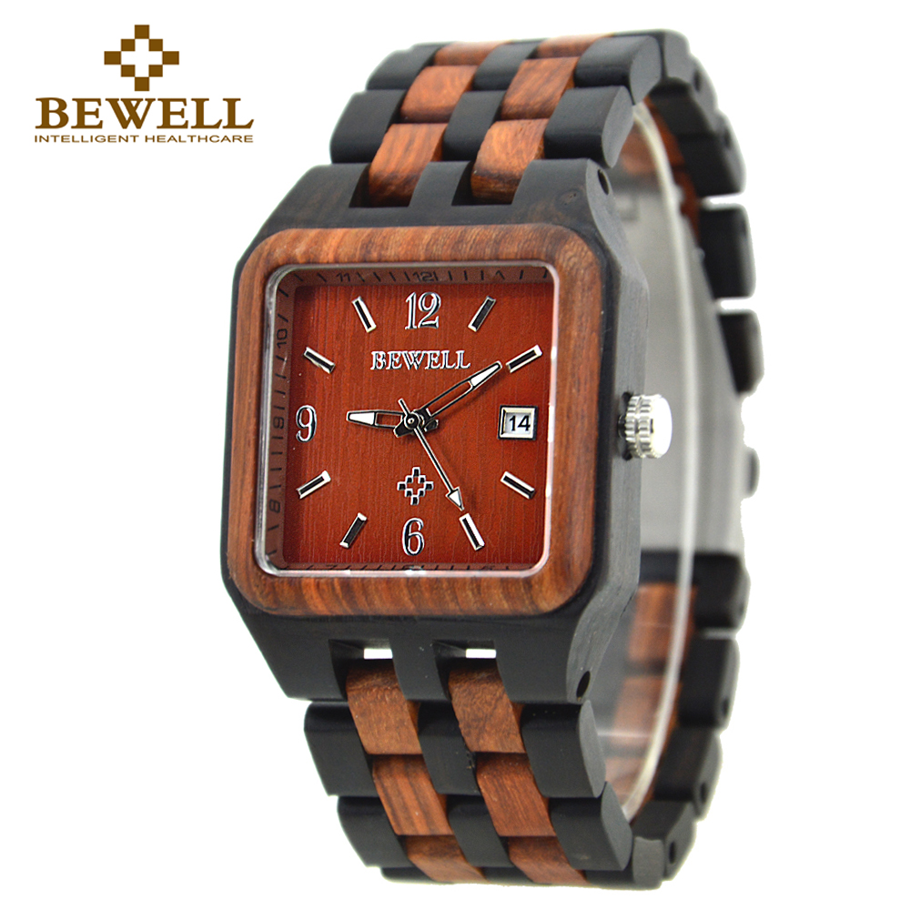 BEWELL 2017 Quartz Wood Watch Men Wooden Square Dial Auto Date Box Watch Rectangle Men Luxury Brand  Relogio Masculino 111A<br>