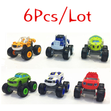 2016 6pcs/set Blaze Car toys Russian Crusher Truck Vehicles Figure Toy Gifts For Kids