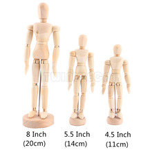 2017 NEW Artist Movable Limbs Male Wooden Toy Figure Model Mannequin Bjd Art Sketch Draw Action Toy Figures 4.5/5.5/8 INCH(China)