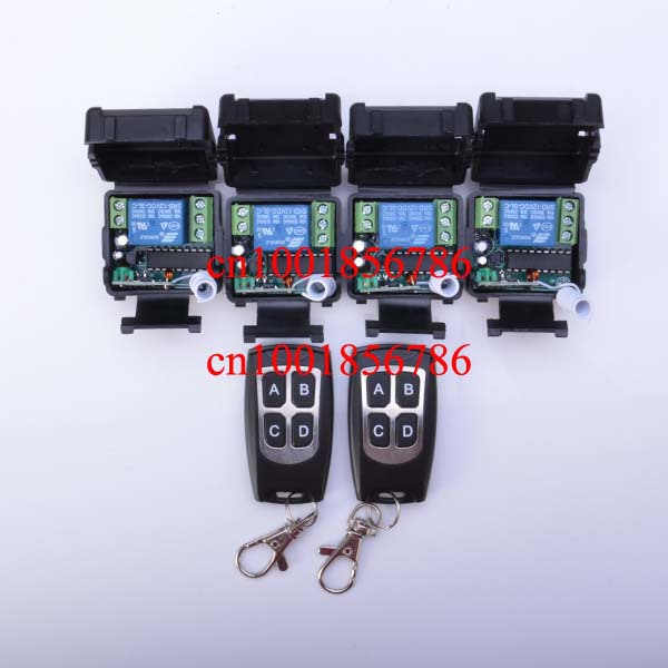 Free shipping 12V 1ch wireless remote control switch  system 2 transmitter &amp; 4 receiver(switch) relay smart house z-wave<br><br>Aliexpress