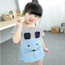2016 baby Summer girls clothing set Cartoon Cat T shirt Yarn Demin dress Children kids clothes suits Fashion toddler clothes