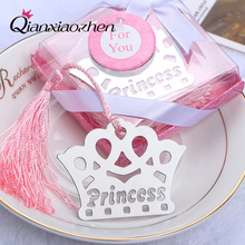Qianxiaozhen 10pcs Crown Bookmark Favors Wedding Favors And Gifts Birthday Party Baby Shower Favors Gifts Supplies(China)