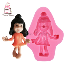 Girl of Shoulder-Length Hair 3D Silicone Cake mold Sugar mould Valentines Gift Chocolate mold for Decorating SM-155(China)
