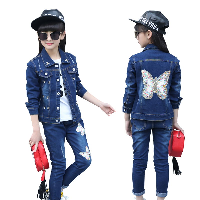 Girls Clothing Set 2018 Spring Kids Sets For 4 6 8 10 12 13 Years Cartoon Butterfly Jacket+Jeans 2Pcs Girls Sports Cowboy Suits<br>