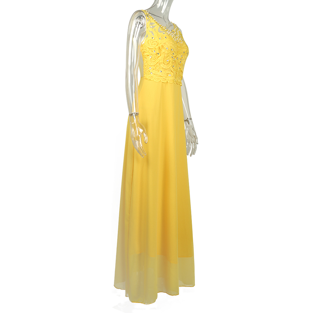 Yellow Lace Hollow Out Women Dresses 3