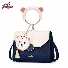 JUST STAR Women's PU Leather Handbags Ladies Fashion Panelled Ring Handle Tote Bag Female Navy Seal Tassel Flap Messenger Bags(China)