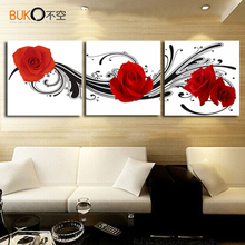 3 pcs / set artist canvas still life painting Red Roses image decor living room modern wall art setting spray modular pictures