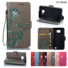 Case for Samsung Galaxy S2 S II 2 GalaxyS2 GT I9100 GT-I9100 GT-I9100M GT-I9100L GT-I9100T Card Slot Leather Cover with Stander(China)