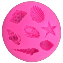 Seashells starfish conch shape silicon mold fondant chocolate cake decoration mold F0122(China)