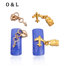10pcs New Gold 3d Alloy Pendant Chain Nail Jewelry Findings Heart Lock Design Nail Art Decoration Tools