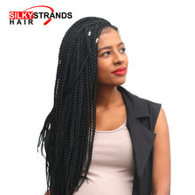 Silky Strands Crotchet Box Braids Hair Extensions Ombre Black Brown Burgundy Colors Kanekalon Braiding Hair Crochet Braids Bulk(China)