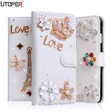 7plus Luxury Wallet Stand Flip PU Leather Case For Apple iPhone 4 4s 5 5s SE 5C 6 6s 7 plus Diamond Cover Rhinestone Phone Bags(China)