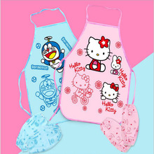 Cartoon hello KT/bule cat cute child kids apron set Kitchen art Baking Painting pinafore+arm sleeve PE Waterproof