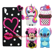 3D Silicone Stitch Hello Kitty Minnie Mouse Sulley Tiger Batman Soft Cell Phone Case Cover For Sony Xperia Z5