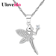 15% Off Fashion China Silver Zirconia Dancing Angel Necklace with Pendant Foreign Jewelry Suspension Christmas Girl Gift N1276