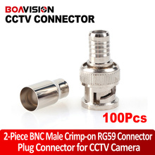 2-Piece Male BNC Crimp-On Connector CCTV RG59 Coax BNC Crimp on BNC Male Adapter Connector For CCTV Camera 100pcs/lot