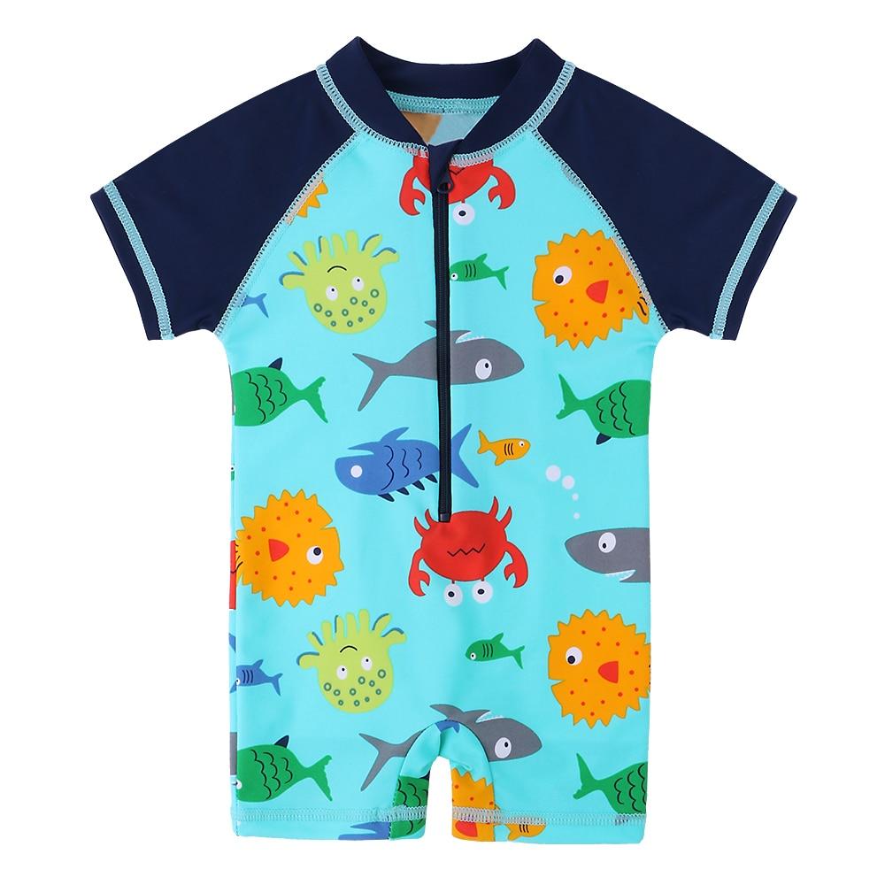 Baby Little Boys One-Piece UPF 50 Sun Protection Swimsuit Blue Cartoon Shark Bathing Suit Swimwear with Hat