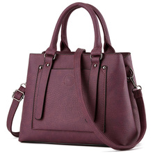 Winter New Women Handbag Vintage Luxury  Black Wine Red Tote Bag High Quality PU Leather Messenger Bags Solid Elegant OL Bags